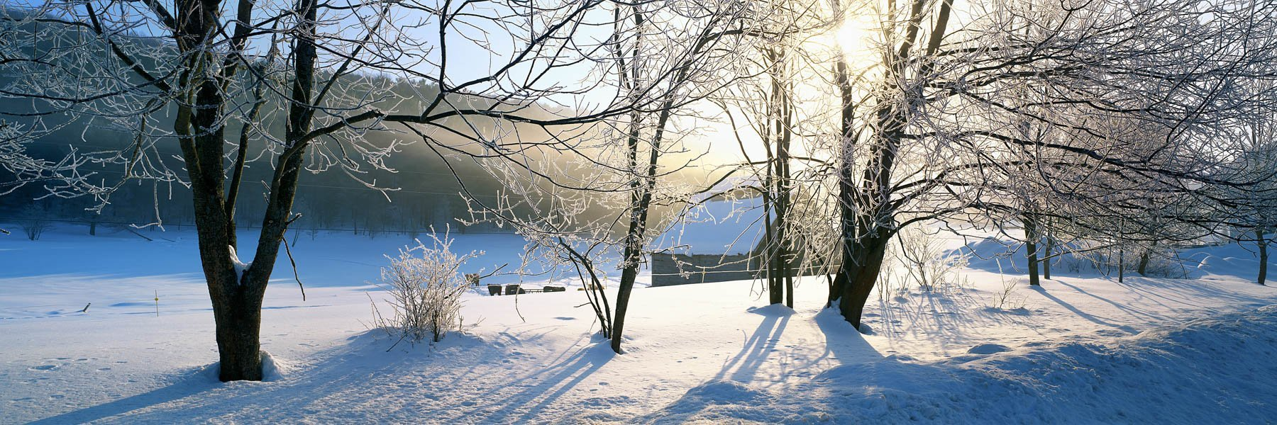 The serenity of a winter landscape, Vermont, USA.
