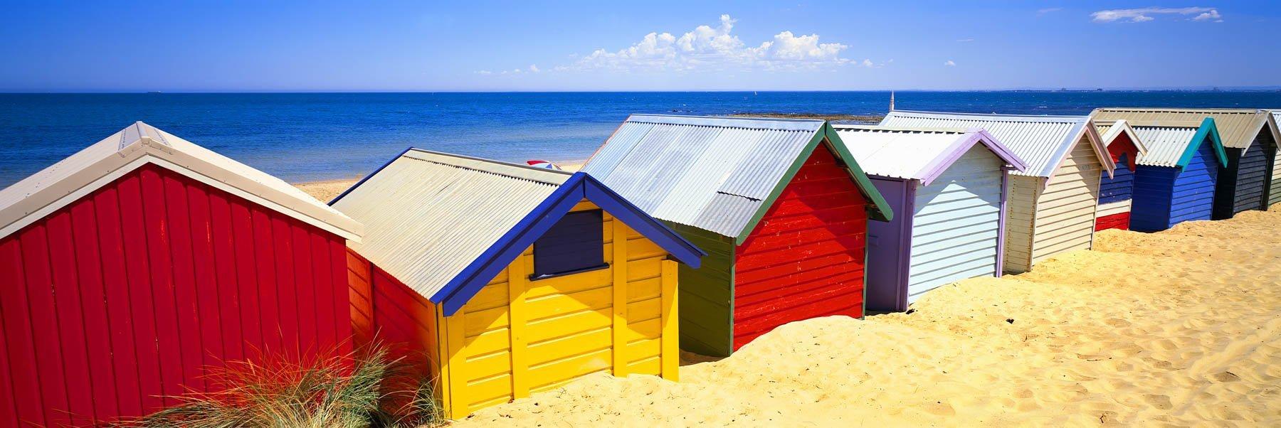 Bathing boxes (beach huts) on Brighton Beach, Melbourne, Victoria, Australia.