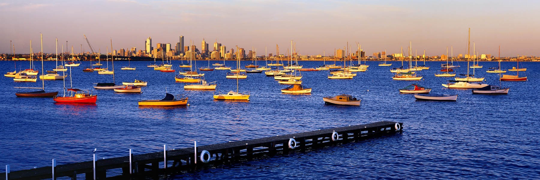 Yachts rocing gently at their moorings in golden afternoon light, Melbourne, Victoria, Australia.