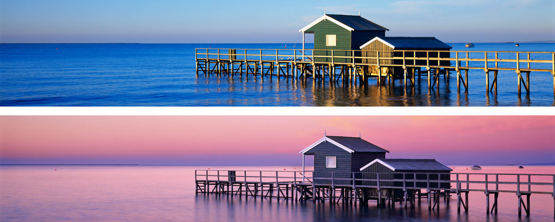 Two images of huts on a jetty, taken one hour apart in late afternoon and at twilight.