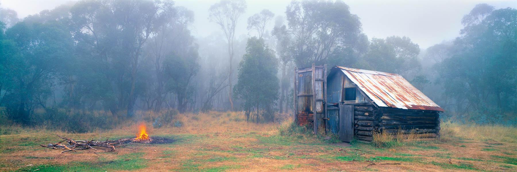A cold, misty morning at Moroka Hut, Alpine National Park, Victoria, Australia.