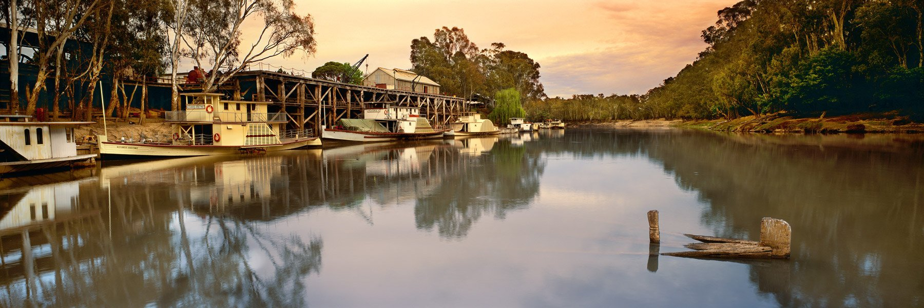 Paddle Steamers reflected in the Murray River, Echuca, Victoria, Australia.