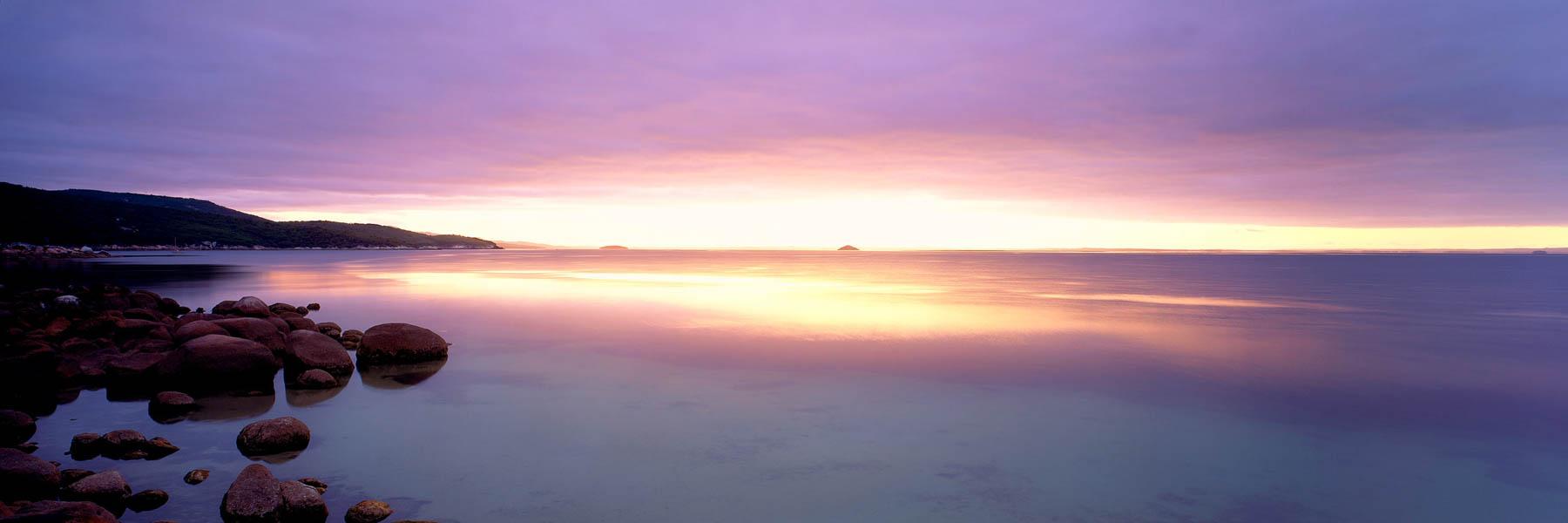Golden sunrise over Freshwater Cove, Wilsons Promontory, Victoria, Australia.