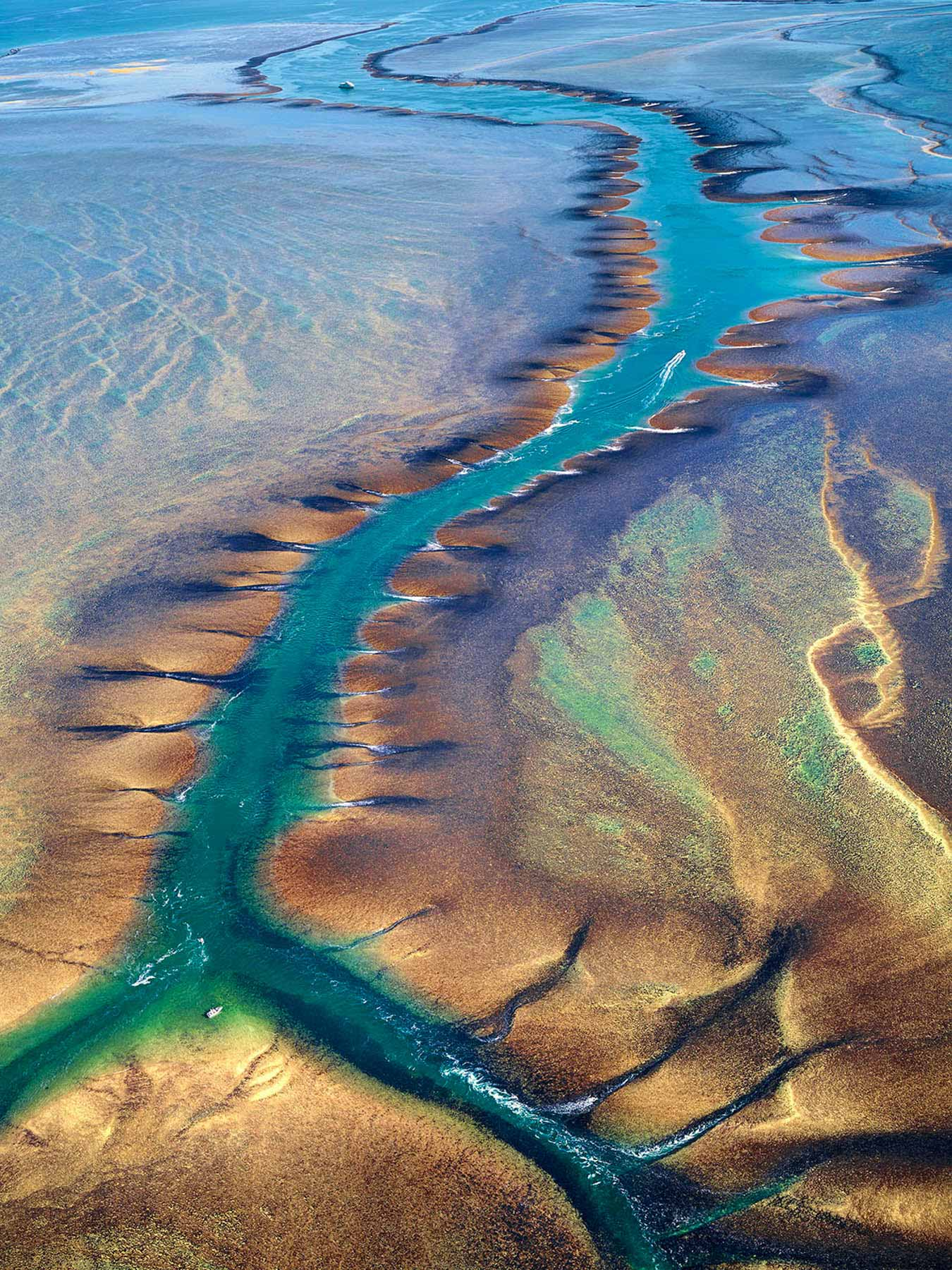 An aerial view of Montgomery Reef, showing the tidal waterfalls that form as huge volumes of water rush off the reef, Kimberleys, WA, Australia.
