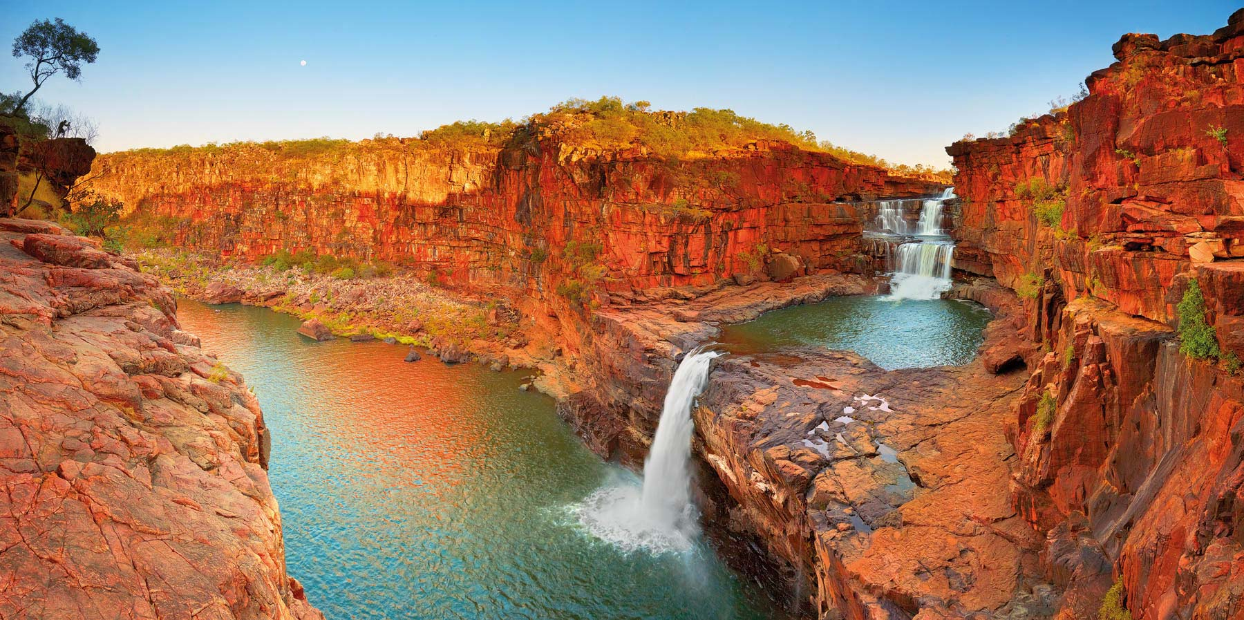 Golden light over Mitchell Falls, Kimberleys, WA, Australia.