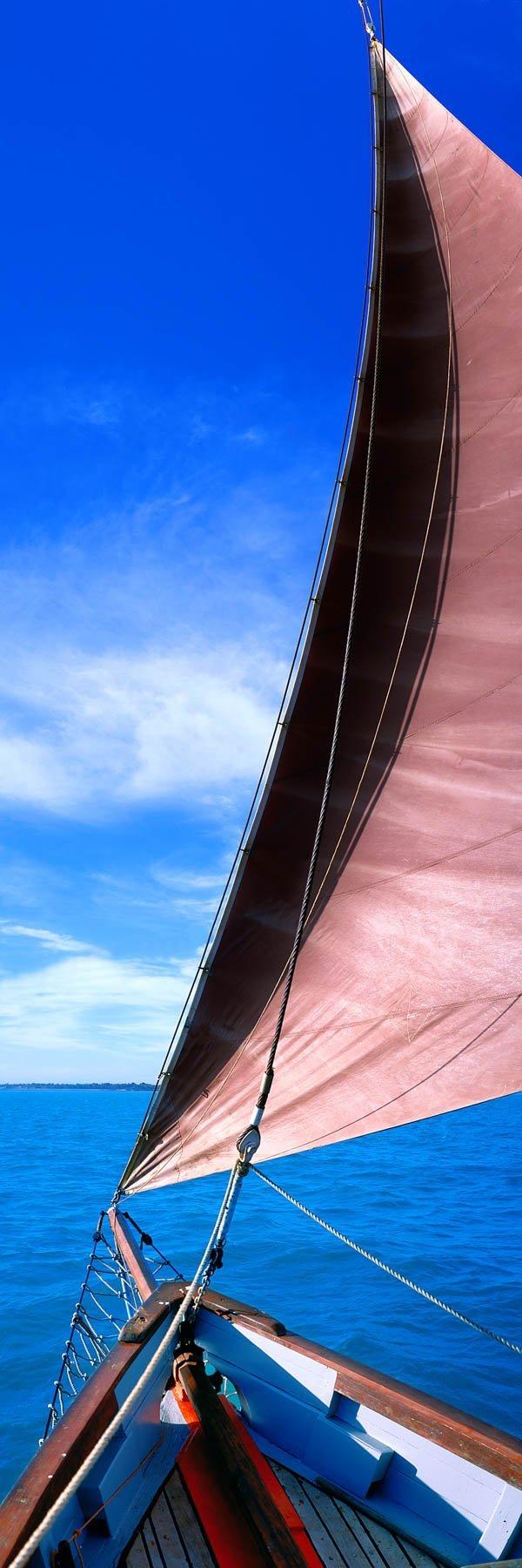 The pearling lugger, Cornelius, off the coast of Broome, WA, Australia.
