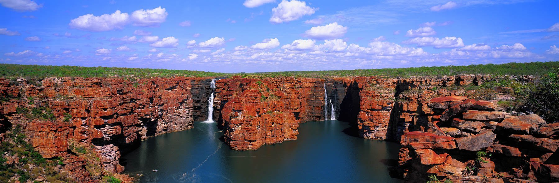 The majestic twin waterfalls of King George falls, Kimberleys, WA, Australia.