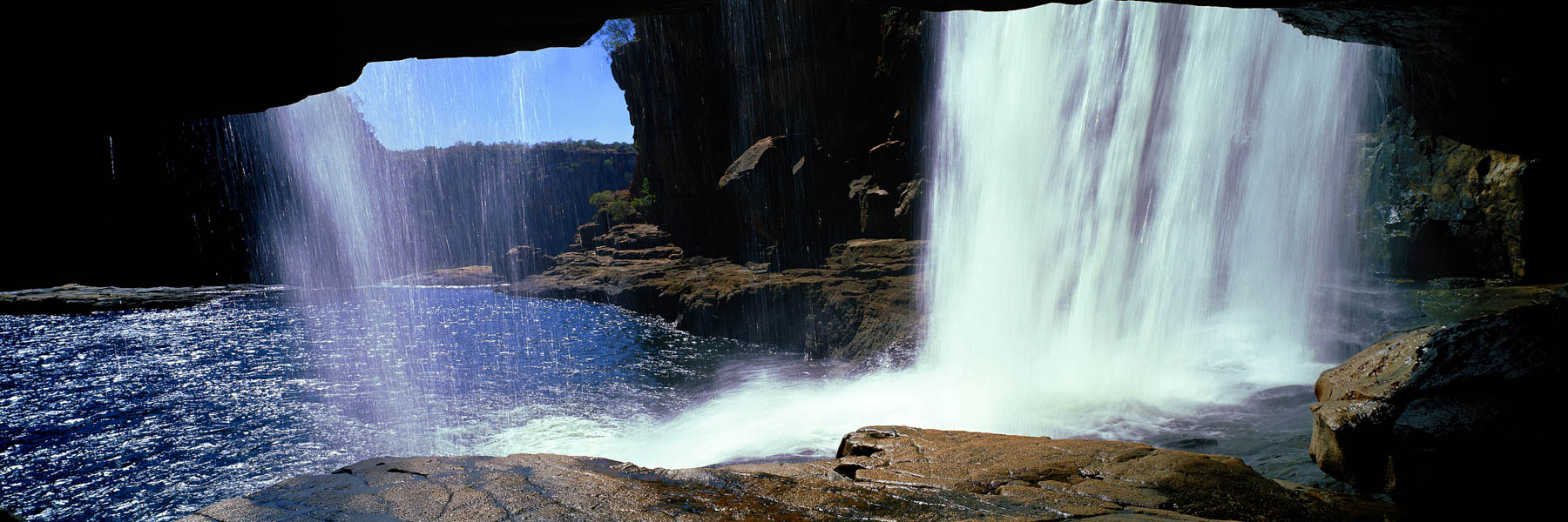 The view from the cavern behind the middle drop of Mitchell Falls, Kimberley, WA, Australia.