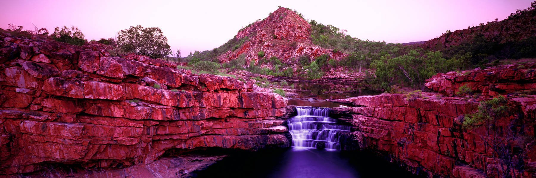 Pastel sunset over Bell Gorge Falls, The Kimberley, Western Australia.