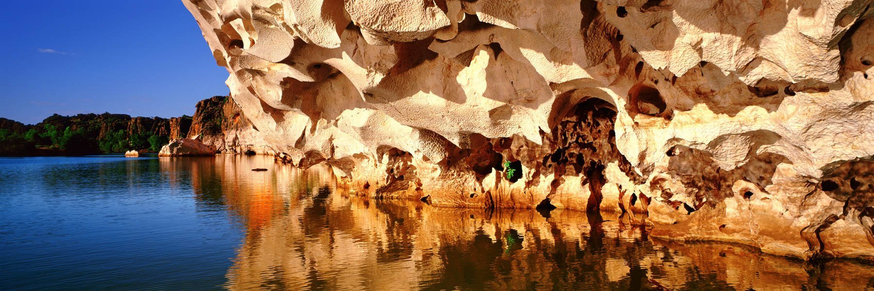 Wind and water erosion in the cliffs of Geike Gorge, on the Fitzroy River, The Kimbereys, Western Australia.
