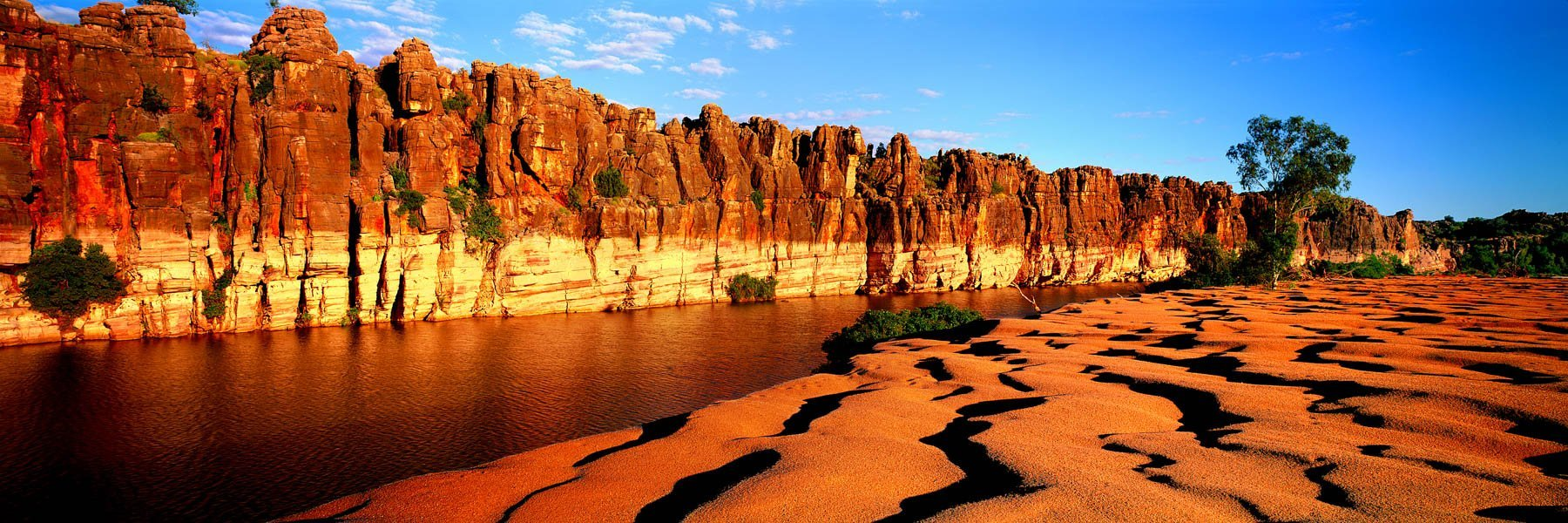 Fitzroy River flowing through Geike Gorge in The Kimberley, WA, Australia.