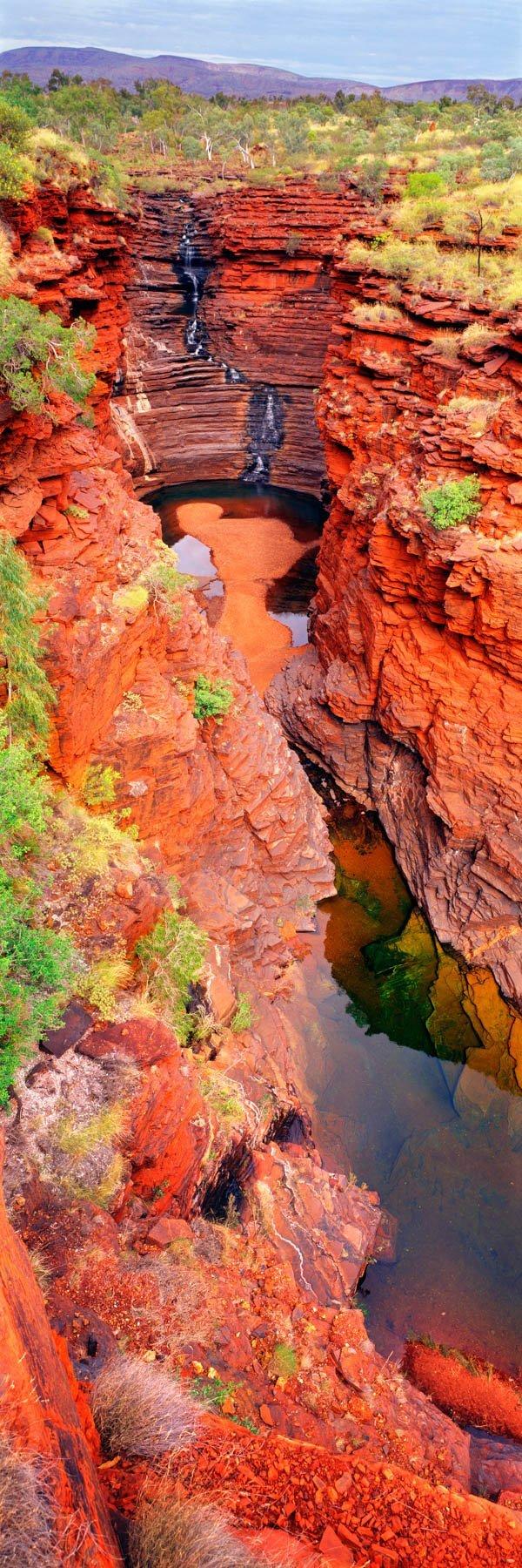 Vertical view of Joffre Falls, Karijini National Park, WA, Australia.