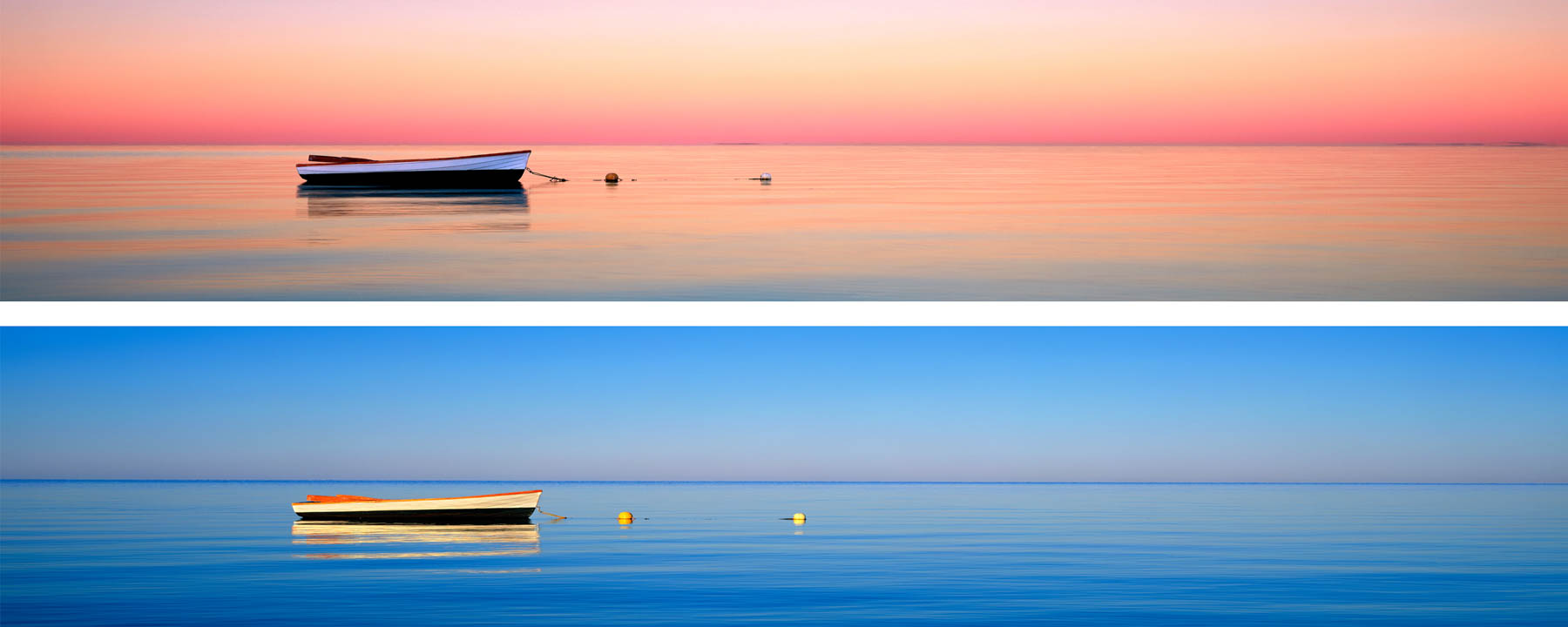 Composite of 2 photos shot at different times of a small dinghy in Shark Bay, WA, Australia.