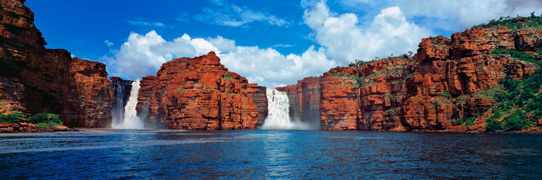 The twin cataracts of King George Falls, Kimberleys, WA, Australia.