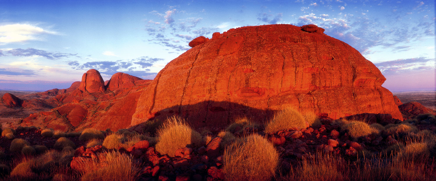 The domes of Kata-Tjuta, glowing red in the afternoon sun, NT, Australia.