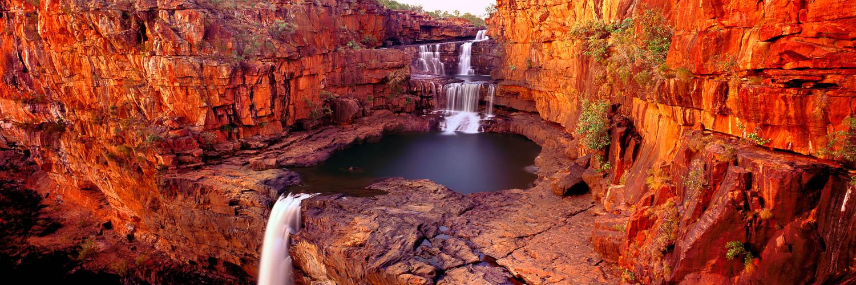 A golden sunset at Mitchell Falls, Kimberleys, WA, Australia.